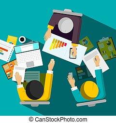 biuro, handlowy, posiedzenie, górny, wektor, projektować, biznesmeni, prospekt, spotkanie pokój