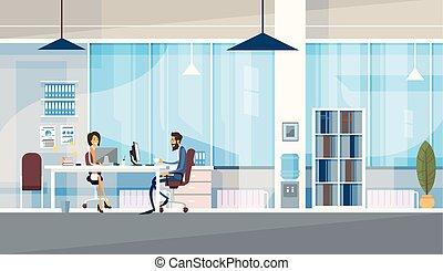 biuro, handlowy, posiedzenie, ludzie, co-working, razem, środek, pracujący, twórczy, biurko