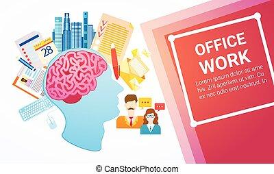 biuro, handlowy, proces, towarzystwo, praca, chorągiew