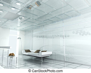 biuro, nowoczesny, nowy, 3d