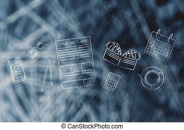 biuro, &, opodatkować, alarm, formuje, telefon, obiekty, biurko