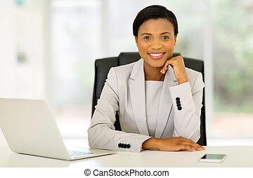 biuro, posiedzenie, pracownik, młody, afrykanin, zbiorowy