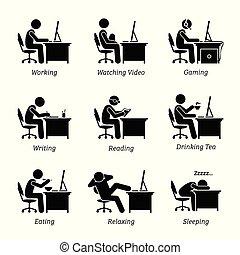 biuro, pracujący, wykonawca, workplace., komputer, przód