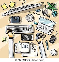 biuro, -, prospekt, tło, górny
