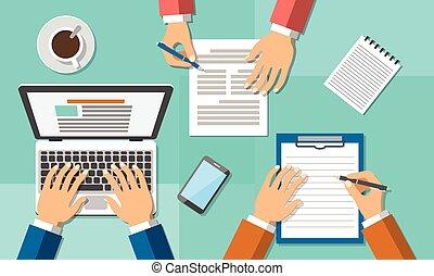 biuro, teamwork, handlowe spotkanie