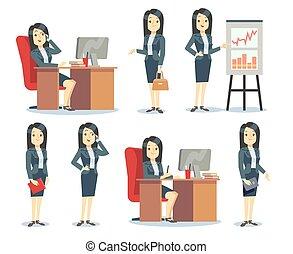 biuro, wektor, kobieta interesu, sytuacje, rysunek, różny, komplet, płaski, litery