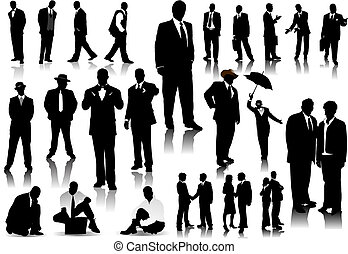 biurowe ludzie, kolor, silhouettes., jeden, wektor, stuknięcie, zmiana