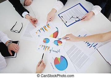 biurowe ludzie, spotkanie, handlowy
