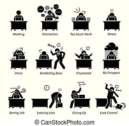 biurowy pracownik, stressful, workplace., bardzo, pracujący