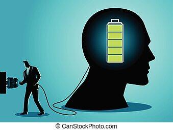 biznesmen, ładujący, mózg