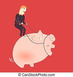 biznesmen, świnia