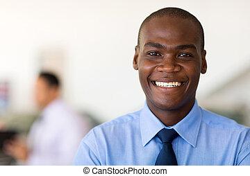biznesmen, amerykanka, młody, afrykanin