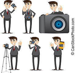 biznesmen, aparat fotograficzny, rysunek, dslr