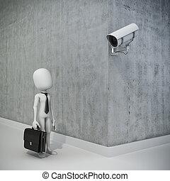 biznesmen, asekuracyjny aparat fotograficzny, człowiek, 3d