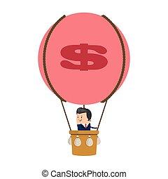 biznesmen, balloon, ikona, puste słowa
