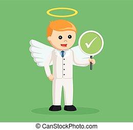 biznesmen, checklist, anioł, znak
