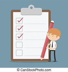 biznesmen, clipboard, checklist