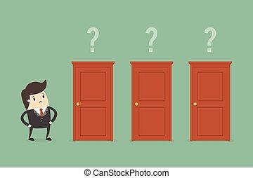 biznesmen, dobry, wybierając, door.