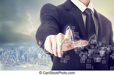 biznesmen, dotykanie, wykres