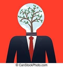 biznesmen, drzewo, bulwa