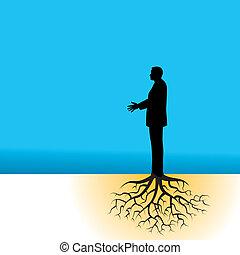 biznesmen, drzewo, podstawy