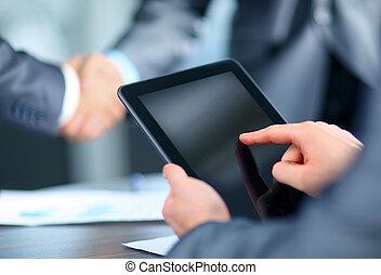biznesmen, dzierżawa, tabliczka, cyfrowy
