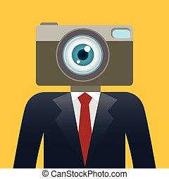 biznesmen, głowa, aparat fotograficzny
