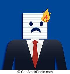 biznesmen, głowa, papier, płonąć