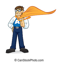 biznesmen, geeks, superhero, rysunek