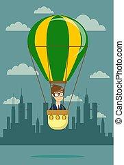biznesmen, gorący, balloon, powietrze