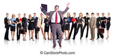 biznesmen, group., szczęśliwy, handlowy zaludniają