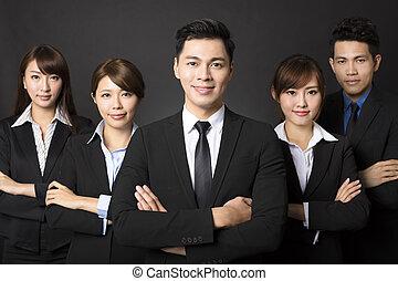 biznesmen, handlowy, młody, pomyślny, drużyna