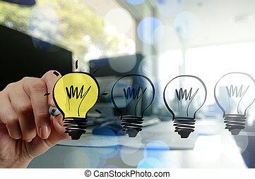 biznesmen, handlowy, rysunek, ręka, strategia, twórczy, lekki, b
