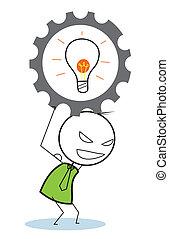 biznesmen, idea, postęp