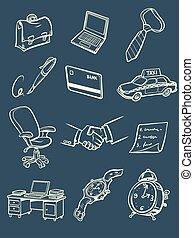 biznesmen, ikony, rys, komplet, zbiór, ręka, rysunek, handlowy, rzeczy, symbolika, przybory