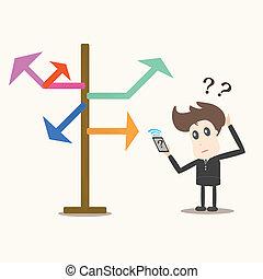 biznesmen, kierunek, arrows., wybór, przód