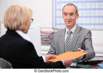 biznesmen, klient, wzrok