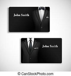 biznesmen, komplet, karta, garnitur