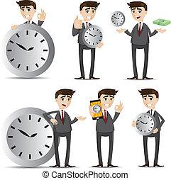biznesmen, komplet, rysunek, zegar