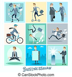 biznesmen, komplet, zbiór, handlowy, sytuacje