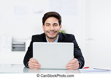 biznesmen, laptop, szczęśliwy, dzierżawa, biurko