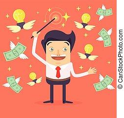 biznesmen, litera, marki, pieniądze
