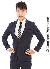 biznesmen, młody, odizolowany, biały, asian