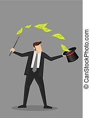 biznesmen, magia, wektor, podstęp, pieniądze, ilustracja