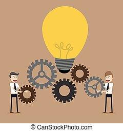 biznesmen, mechanizmy, praca, ilustracja, drużyna