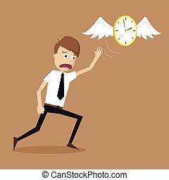 biznesmen, mucha, precz, skrzydełka, zegar, ucieczka