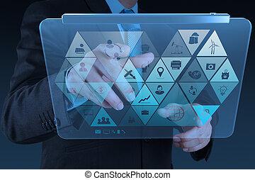 biznesmen, nowoczesna technologia, pracujący, ręka