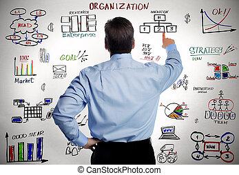 biznesmen, organisation, handlowy, scheme.