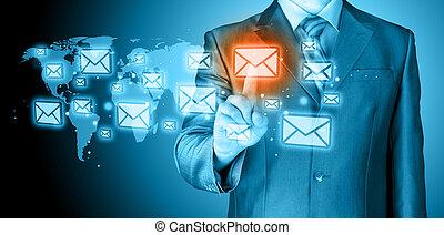 biznesmen, pojęcie, email