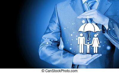 biznesmen, pojęcie, ubezpieczenie, rodzina, broniąc